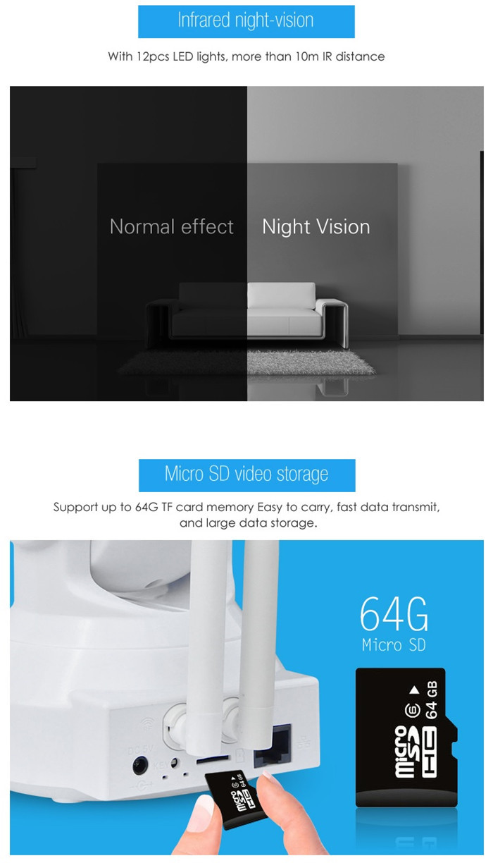 VStarcam C37-AR Dual Antenna 720P Smart Alarm IP Wireless Camera ONVIF RTSP Protocol IR Night Vision