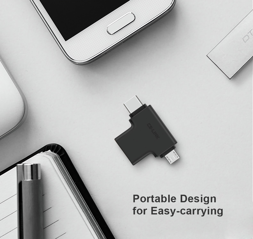 CE-LINK Type-C + Micro USB Male to USB 3.0 Female OTG Adapter Connector for Android Phones Tablets