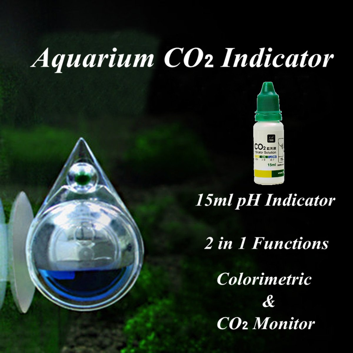 Aquarium Fish Tank Carbon Dioxide CO2 Monitor Ball Checker Tester PH Indicator