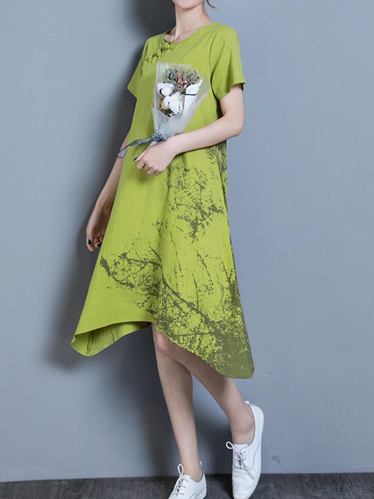 Vintage Women Short Sleeve Print Irregular Dresses