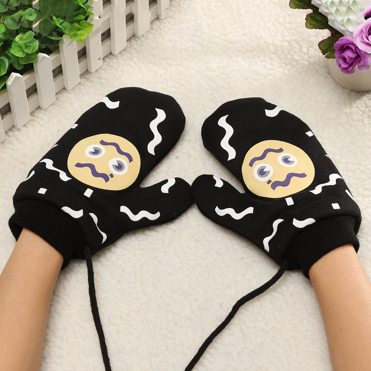 Women Girl Cotton Blend Cute Cartoon Pattern Gloves Full Finger Fleece Lining Mittens With Rope