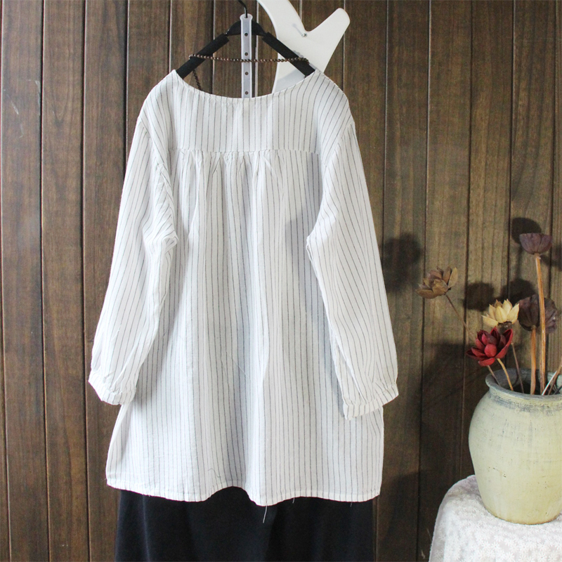 Women Vintage Striped Long Sleeve Irregular Blouse
