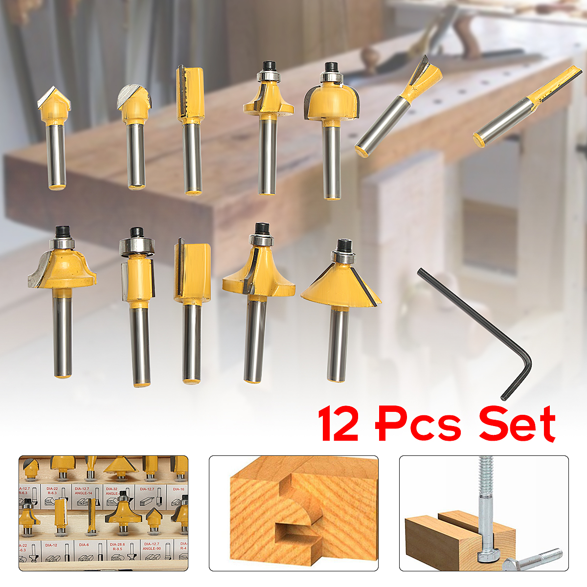 12pcs 1/4 Inch Shank Router Bit Set Tungsten Carbide Woodworking Cutter Rotary Tool