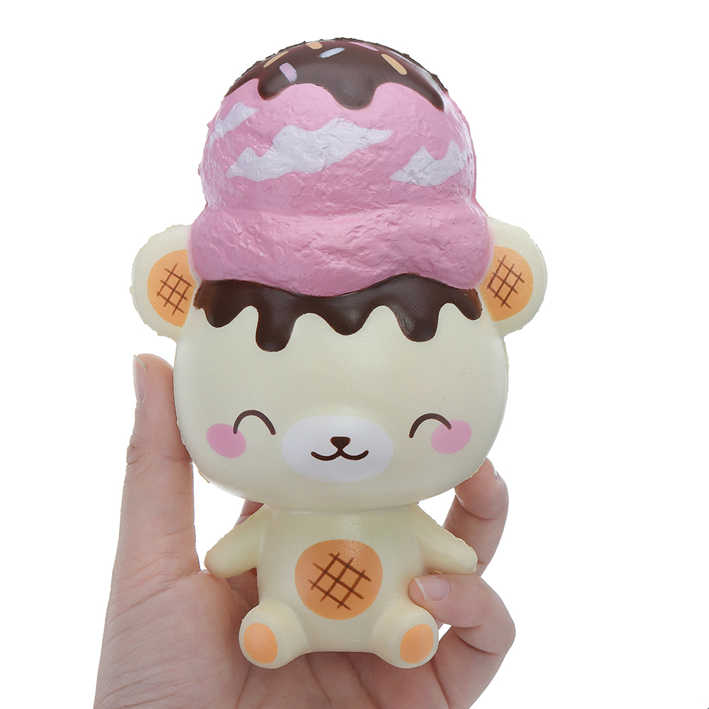 Creamiicandy Yummiibear Squishy Ice Cream Scoop Strawberry Bear 14CM Licensed Slow Rising With Packaging