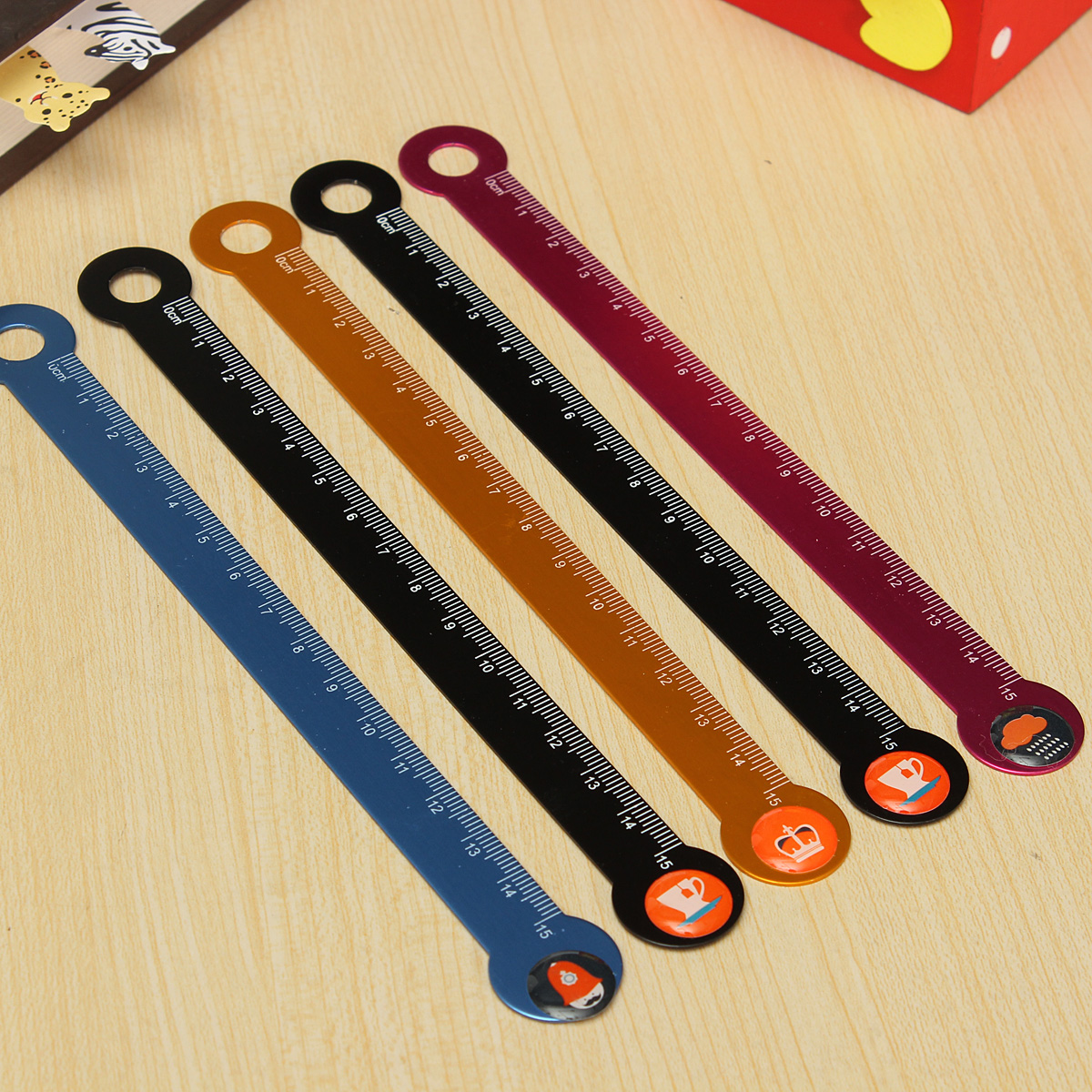 Kids Student Study Stationery Measuring Ruler Scale Measure Tools Cute Aluminum Straight Ruler