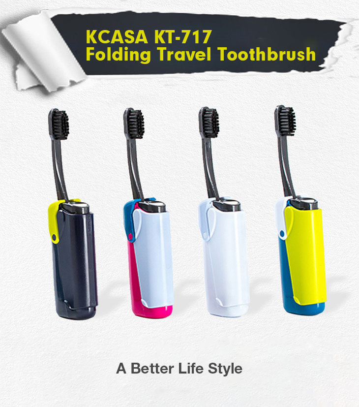 KCASA KT-717 Portable Lighter Shape Compact Foldable Toothbrush Travel Camping Outdoor with Toothpaste Bottle