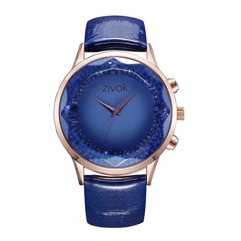 ZIVOK 8010 Fashionable Crystal Leather Strap Women Watches