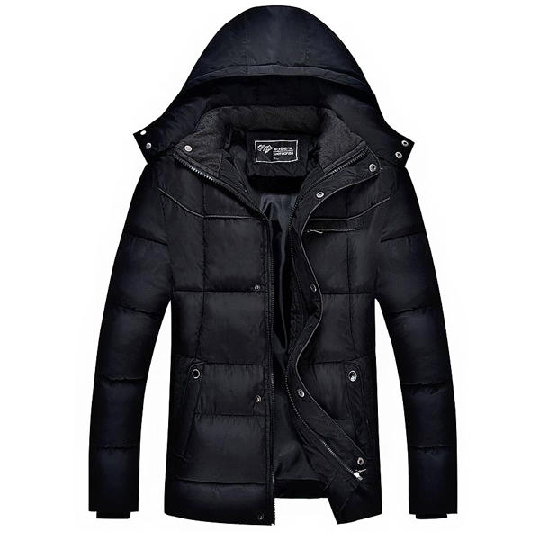 Men Thick Winter Coat Stand Collar Solid Color Casual Jacket