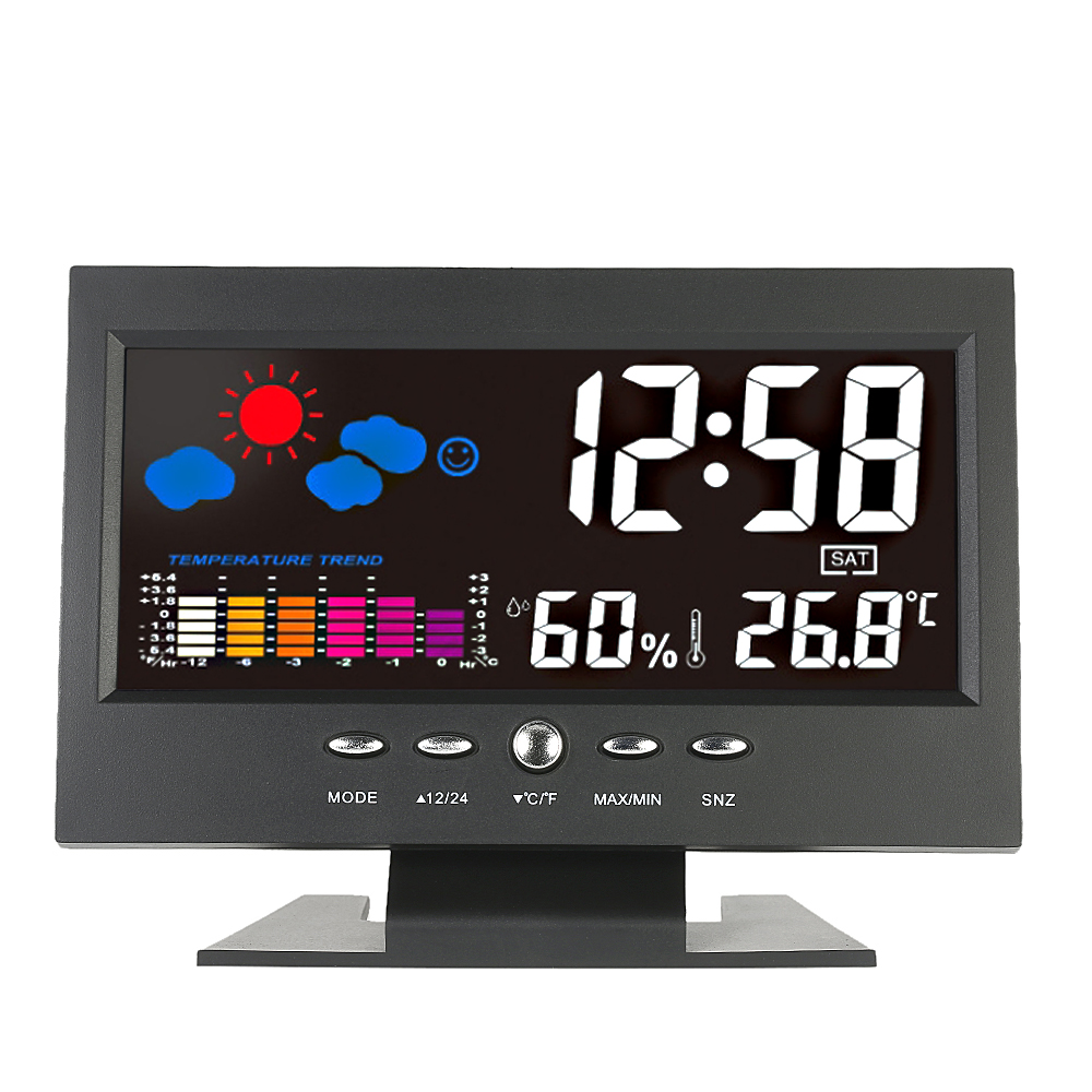 Loskii DC-000 Digital Wireless Colorful Screen USB Backlit Weather Station Thermometer Hygrometer Alarm Clock Temperature Gauge Calendar Vioce-Activated