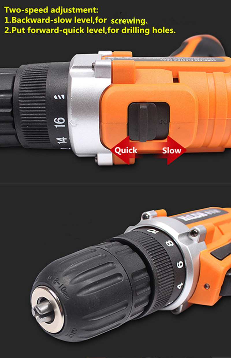 Hilda DC 16.8V Cordless Electric Drill Lithium Battery Electric Drill Power Drill