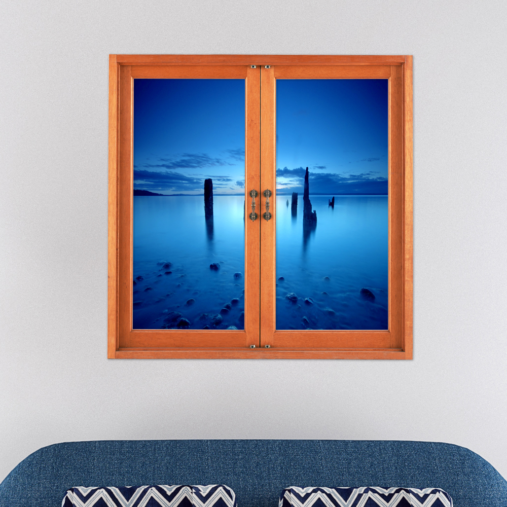 Frozen Sea PAG 3D Artificial Window View 3D Wall Decals Room Stickers Home Wall Decor Gift