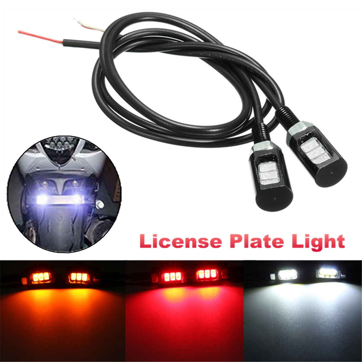 12V 3SMD 5630 LED Motorcycle Car License Plate Screw Bolt Light Lamp