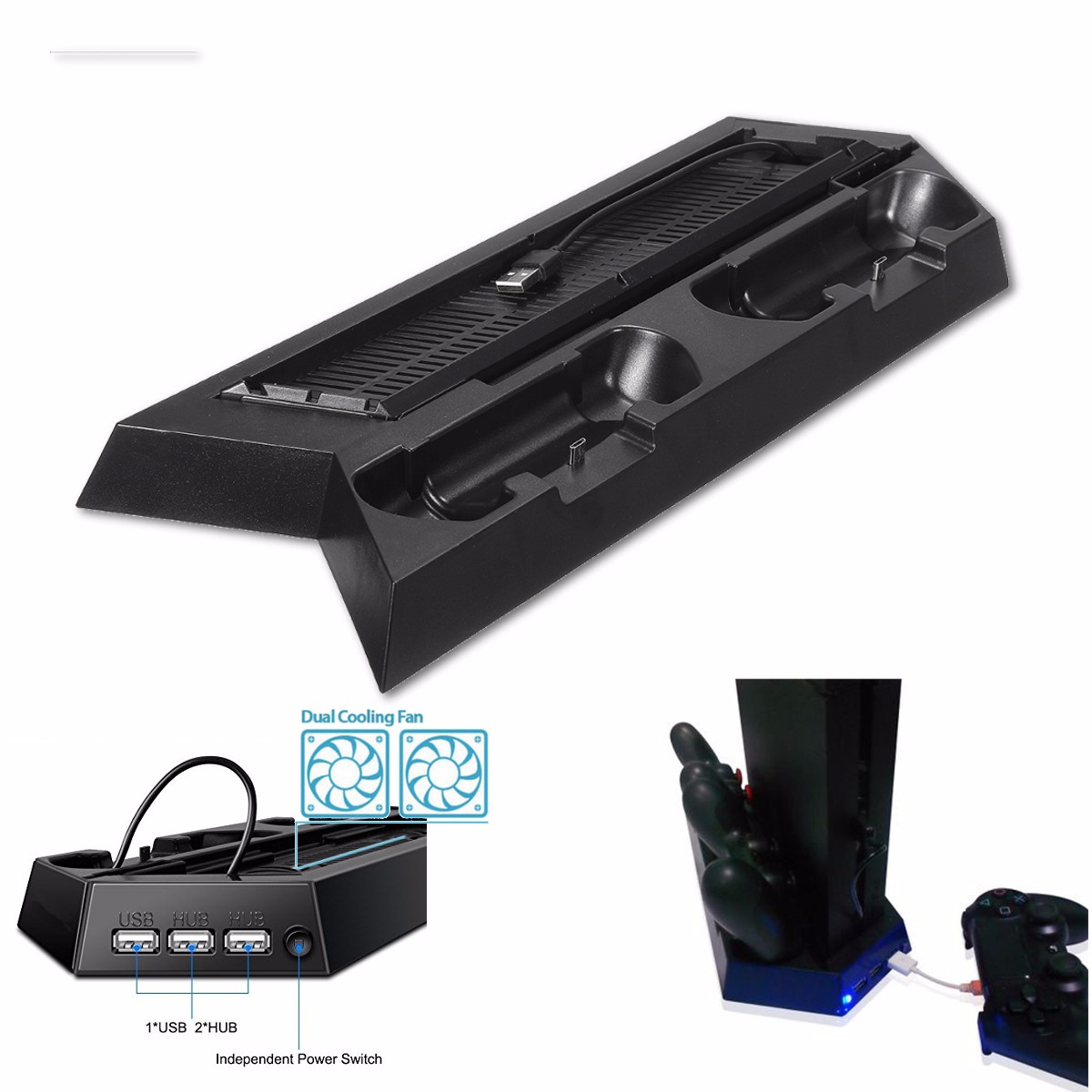 4 in 1 Controller Charging Station Vertical Stand Cooler Fan HUB for PS4 Slim