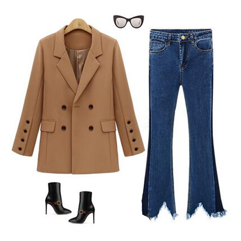 Women Solid Blazer Casual Business Suit Long Sleeve Work Design Coat Outwear