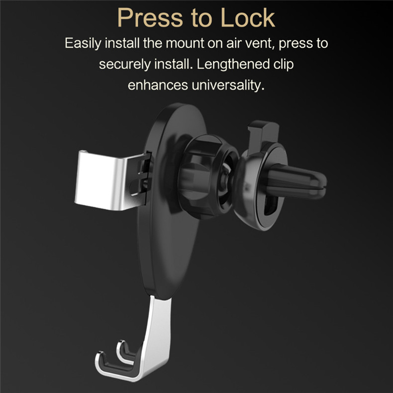 Rock Leather Gravity Linkage Auto Lock 360 Degree Rotation Car Holder Stand for Mobile Phone