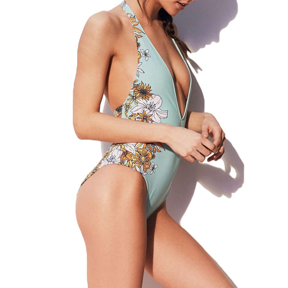 Women Sexy Backless Wireless Printing Soft Cups Floral Tight High Elastic One Piece Swimwear