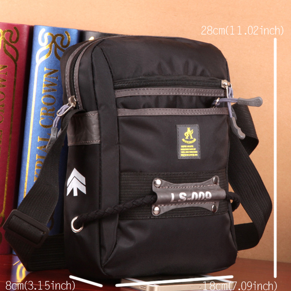 Men Nylon Multifunctional Outdooors Black Small Travel Shoulder Crossboby Bag