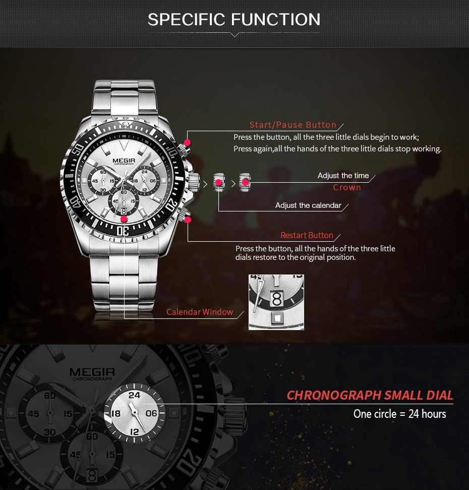 MEGIR 2064 Multifunction Chronograph Casual Men Watch