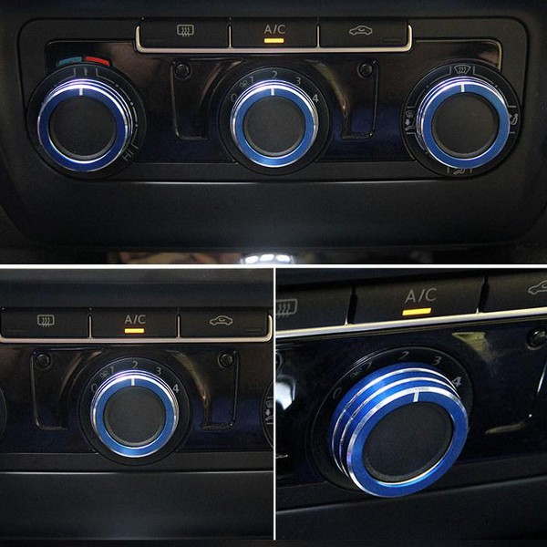 3pcs/Set Cars Alu Decorative Knob Ring Air Conditioning Knob Ring for New Sagitar 2012-2014 Golf 6