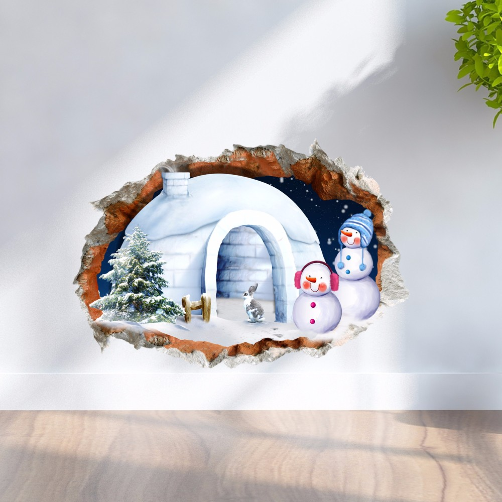 PAG 3D Christmas Snowman House Sticker Wall Decals Home 3D Christmas Wall Hole Decor Gift