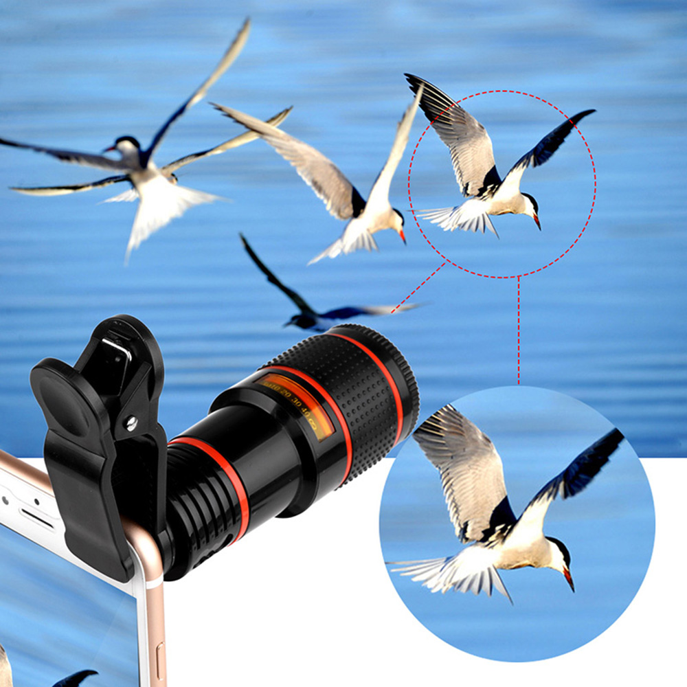Universal Clip-on 12x Optical Zoom HD Telescope Camera Lens For iPhone X 8 Plus OnePlus 5 Tablet