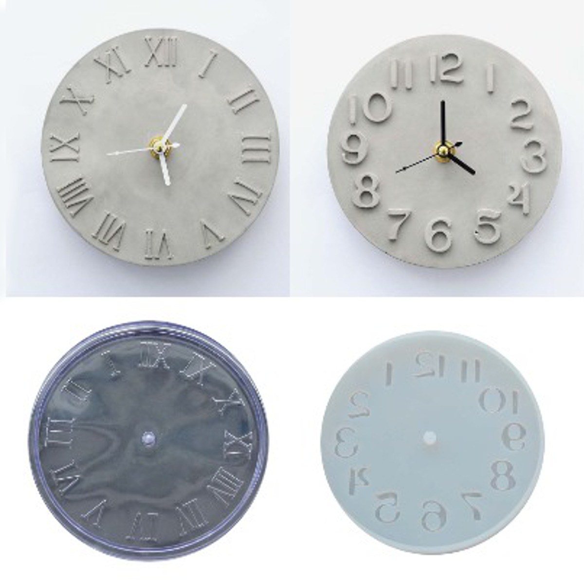 Cement Concrete Silicone Mould DIY Craft Clock Making Clay Plaster Mould Handmade