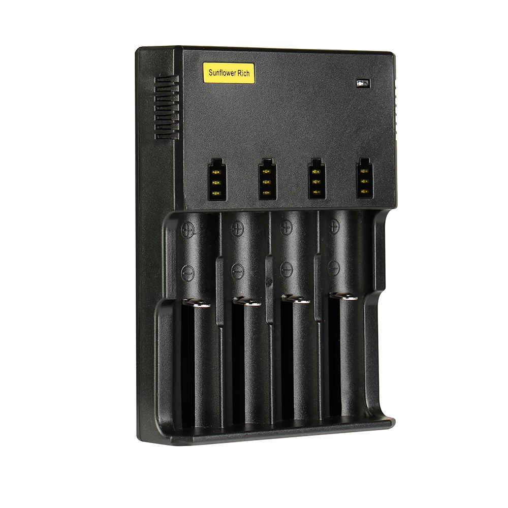 Sunflower Rich HE4 USB Port Rapid Smart Battery Charger For 18650 26650 AA AAA 4Slots