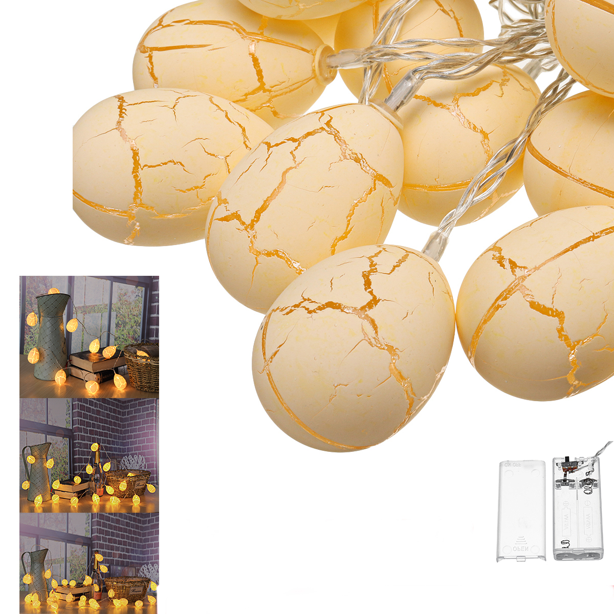 1.5M 3M 6M Battery Operated Warn White Egg Shape LED Christmas String Light Easter Home Cafe Deco