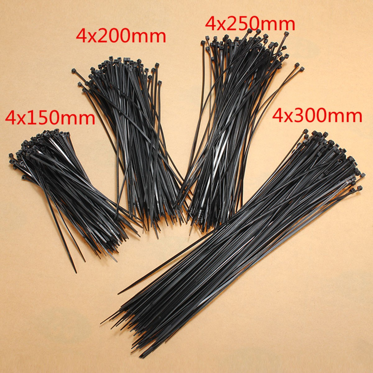 100pcs Nylon Cable Zip Ties Wrap Fasten Wire Self-Locking Cable