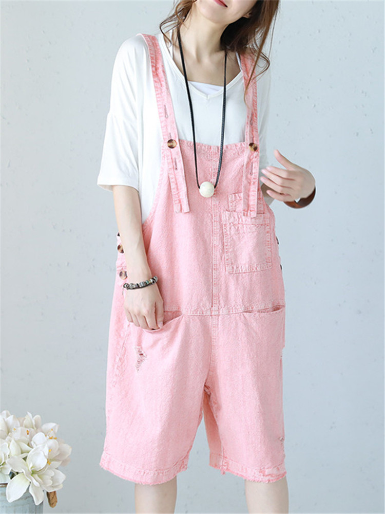 Women Casual Cotton Loose Solid Color Sleeveless Jumpsuit