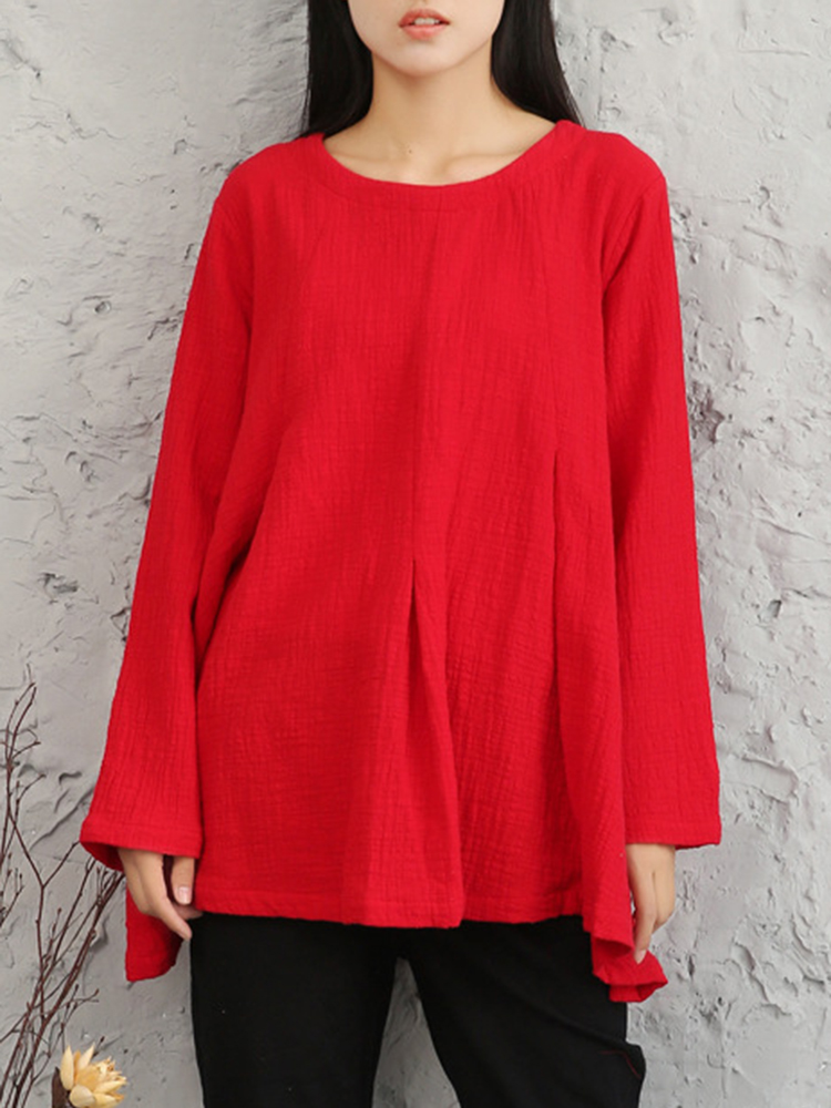 M-5XL Pure Color Pleated Cotton Blouse