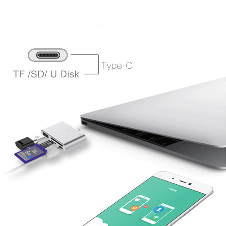 T800 Multi-function OTG USB 3.1 Type-C External TF SD Card Reader For Huawei P9 Plus LG Note 7 Max 2