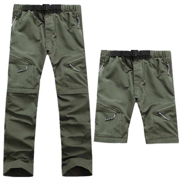 Outdoor Quick Drying Two Detachable Shorts Pants Men's Elastic Waist Drawstring Climbing Hiking Pant