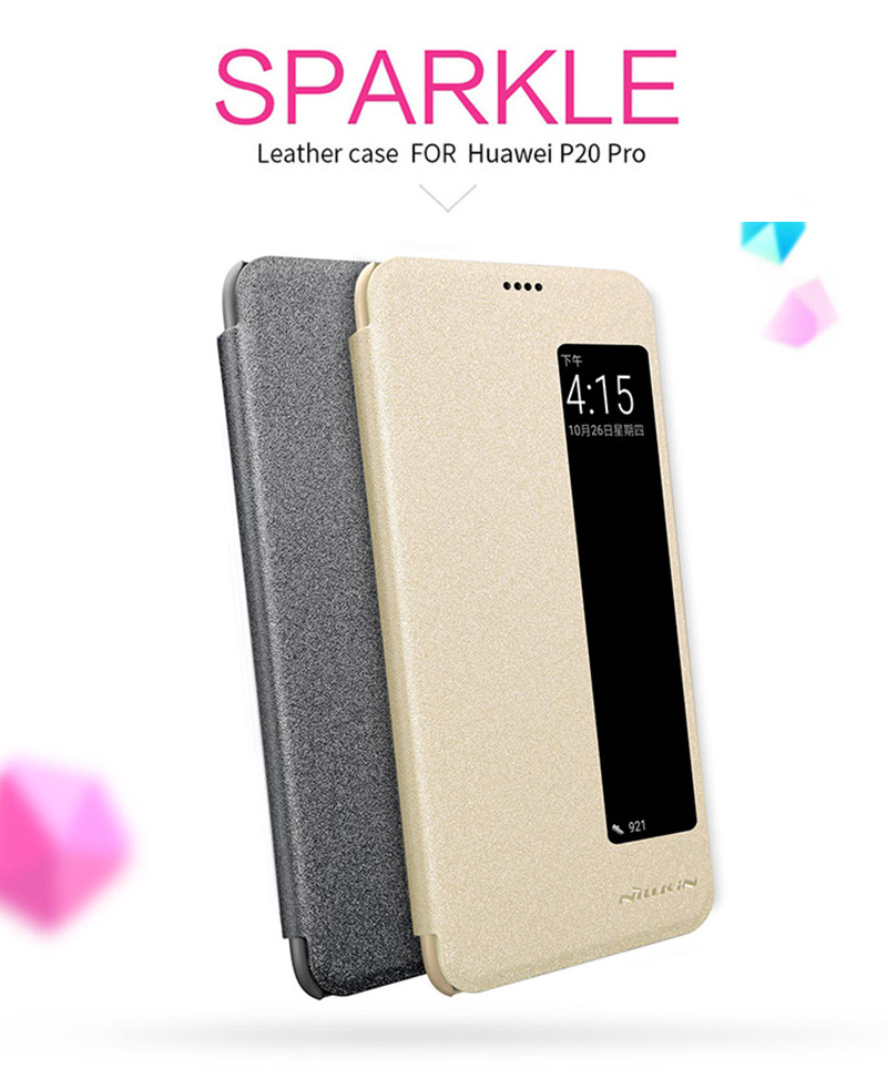 NILLKIN Message Window Smart Sleep PU Leather Full Body Cover Protective Case for Huawei P20 Pro