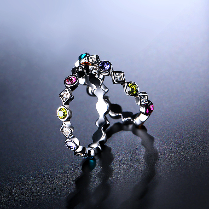 2 Pcs of Trendy Rings Platinum Plated Colourful Rhinestones Women Ring