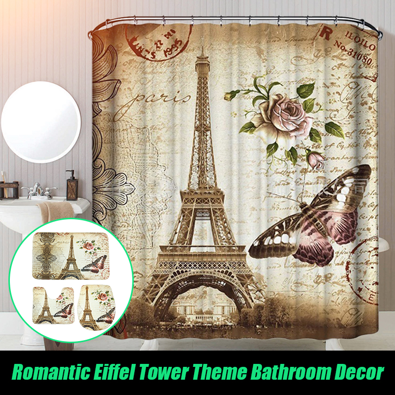 180x200cm Paris Bathroom Shower Curtains Eiffel Tower Waterproof Fabric & Hooks