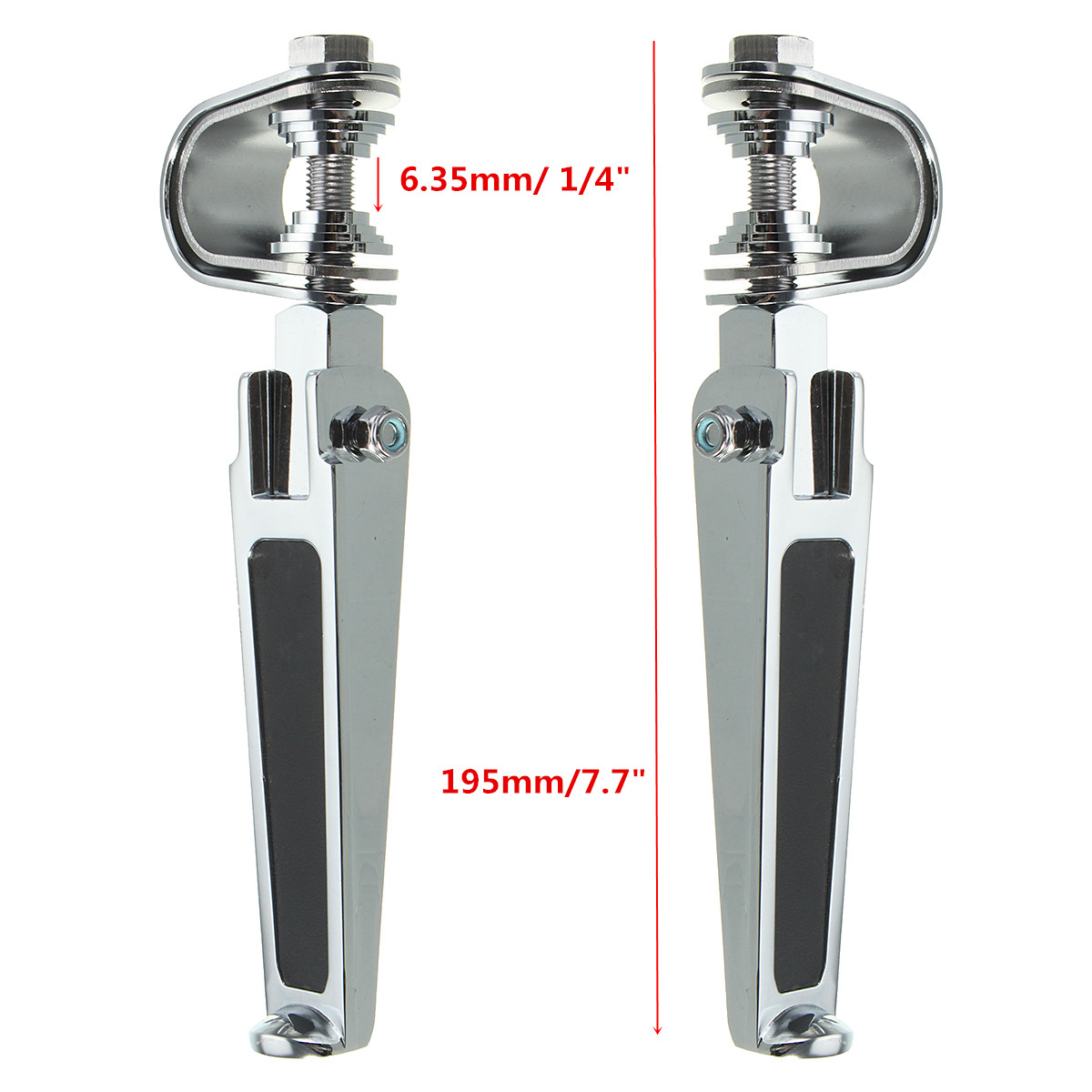 1inch 1-1/4inch Universal Motorcycle Chrome Clamp On Foot Pegs For Haley/Honda