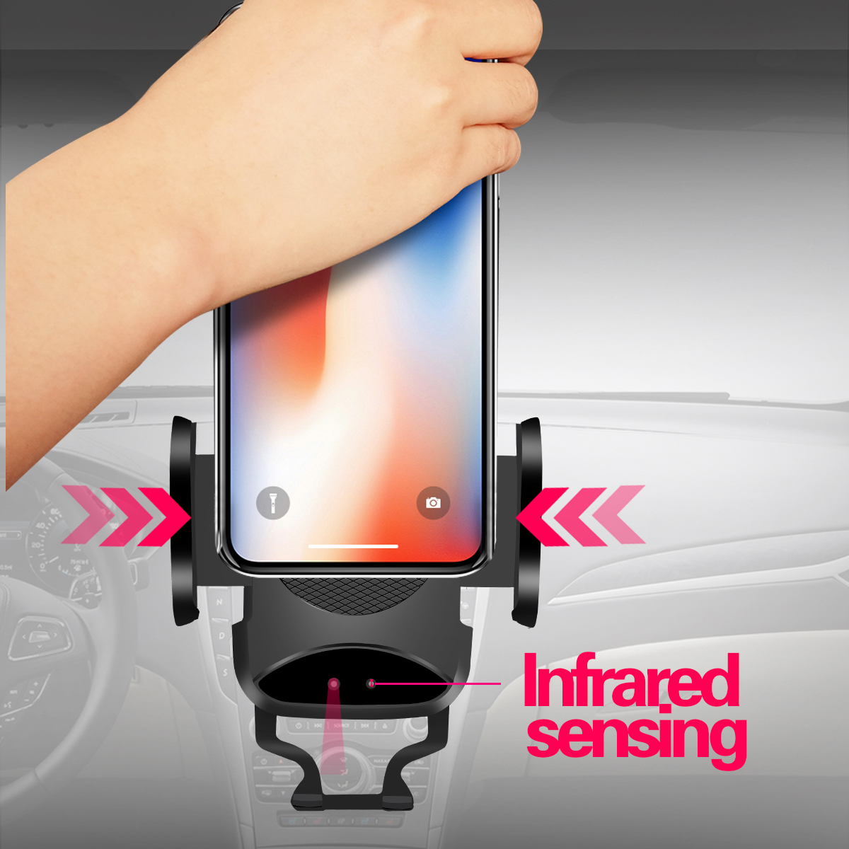 DC 5V Auto Infrared Sensor Qi Wireless Charger 10W Fast Charging Air Vent Phone Holder