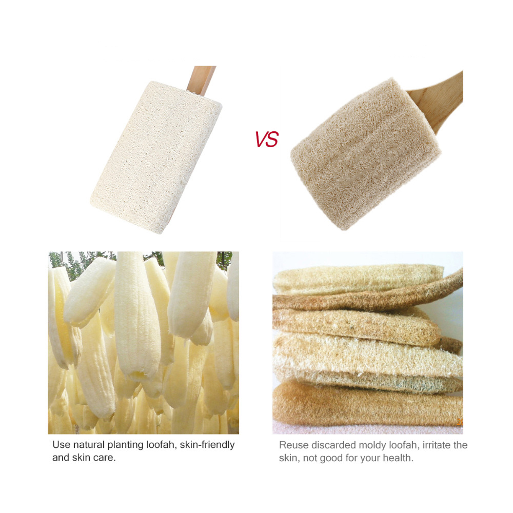 Natural Loofah Bath Body Shower Spa Back Brush with Long Handle Cleaning Brush