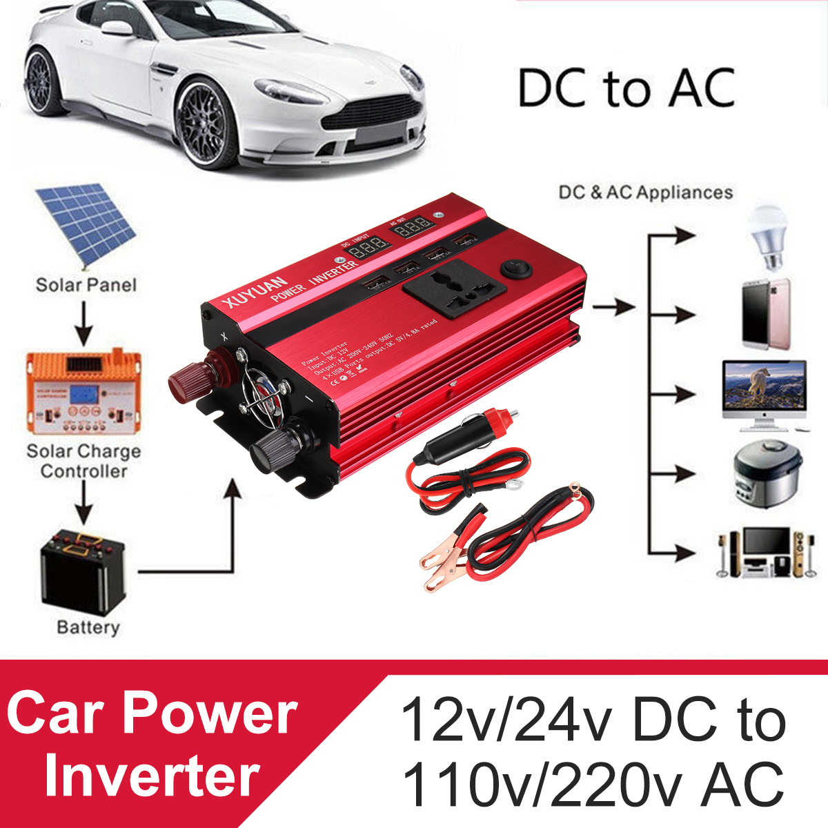 Peak 3000W 4 Type DC 12V/24V to AC 110V/220V Solar Power Inverter LED Modified Sine Wave Converter