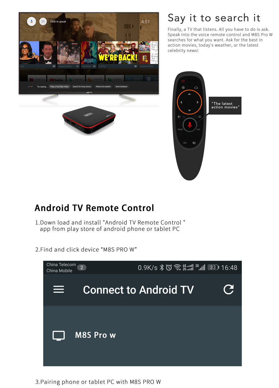 Mecool M8S PRO W S905W 2GB RAM 16GB ROM TV Box with Android TV OS Support Voice Input Control