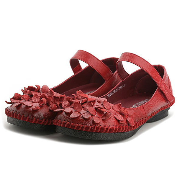SOCOFY Genuine Leather Flowers Flats