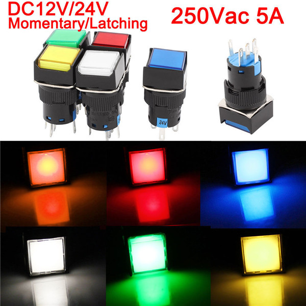 16mm DC 12V Push Button Self Lock Switch Square LED Light Button