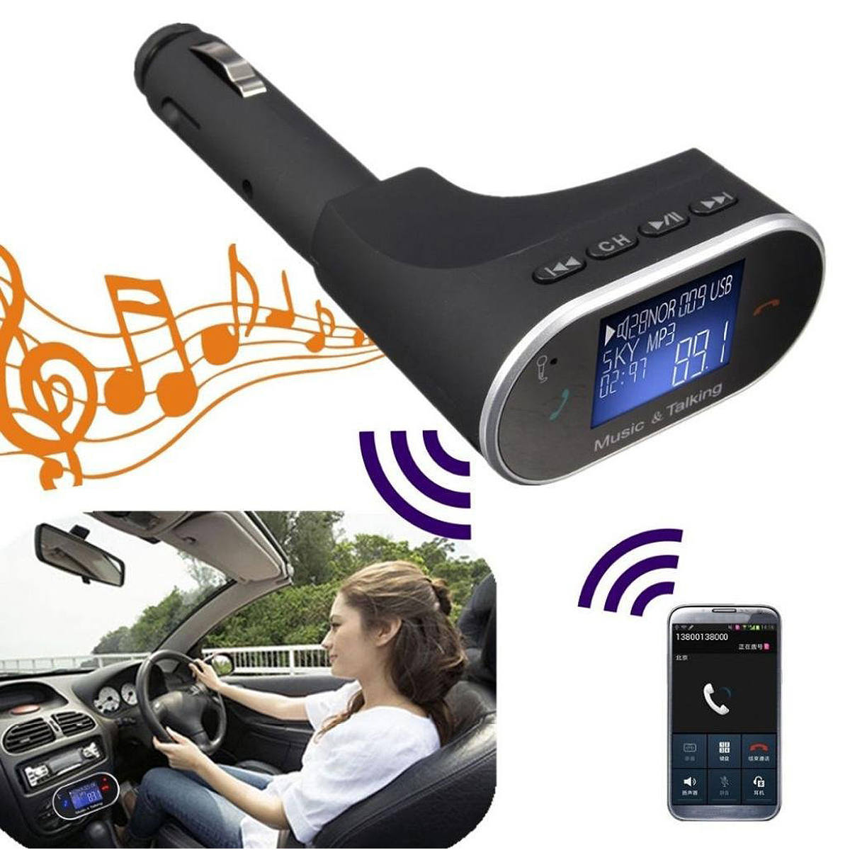 Wireless bluetooth Handsfree Auto Car FM Transmitter MP3 Player Remote Control
