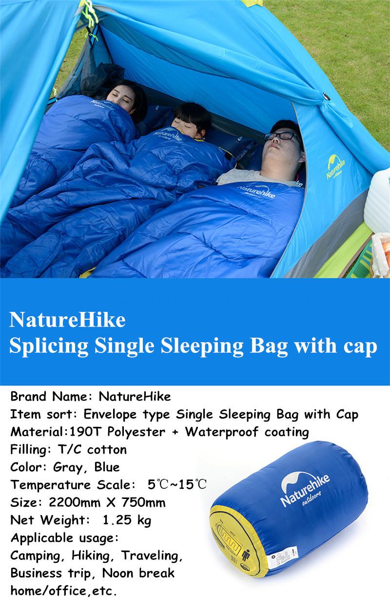 NatureHike Single Sleeping Bag Winter Outdoor Camping Hiking Envelope Sleeping Mat