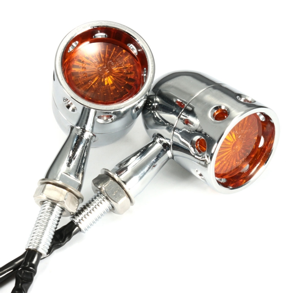 Pair 12V Motorcycle Amber Turn Signal Indicator Light Hollow Lamp For Harley