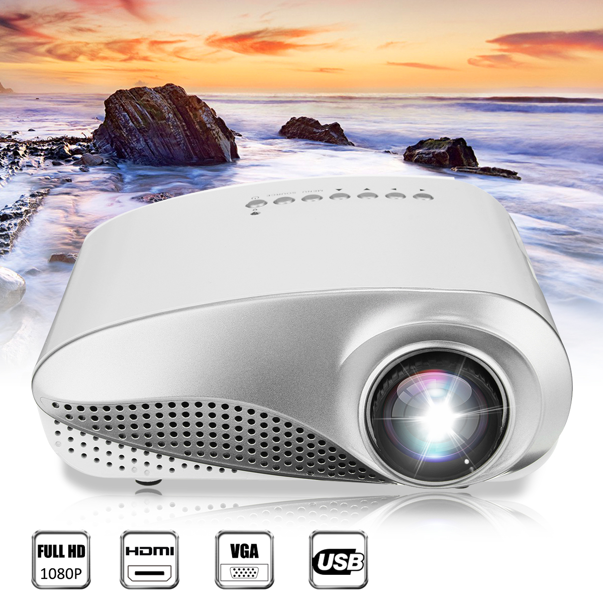 3D 1080P Portable LCD LED Mini Projector 600 Lumens 480x320 USB VGA TV AV Office Home Theater