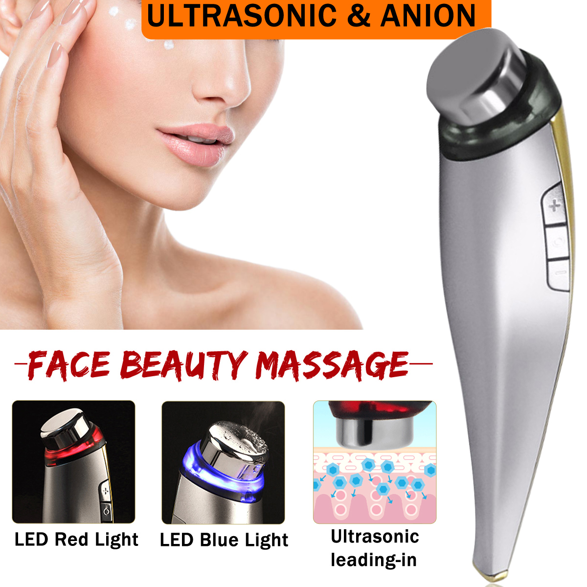 Ultrasonic Lonic Anion LED Light Face Massage Rejuvenation