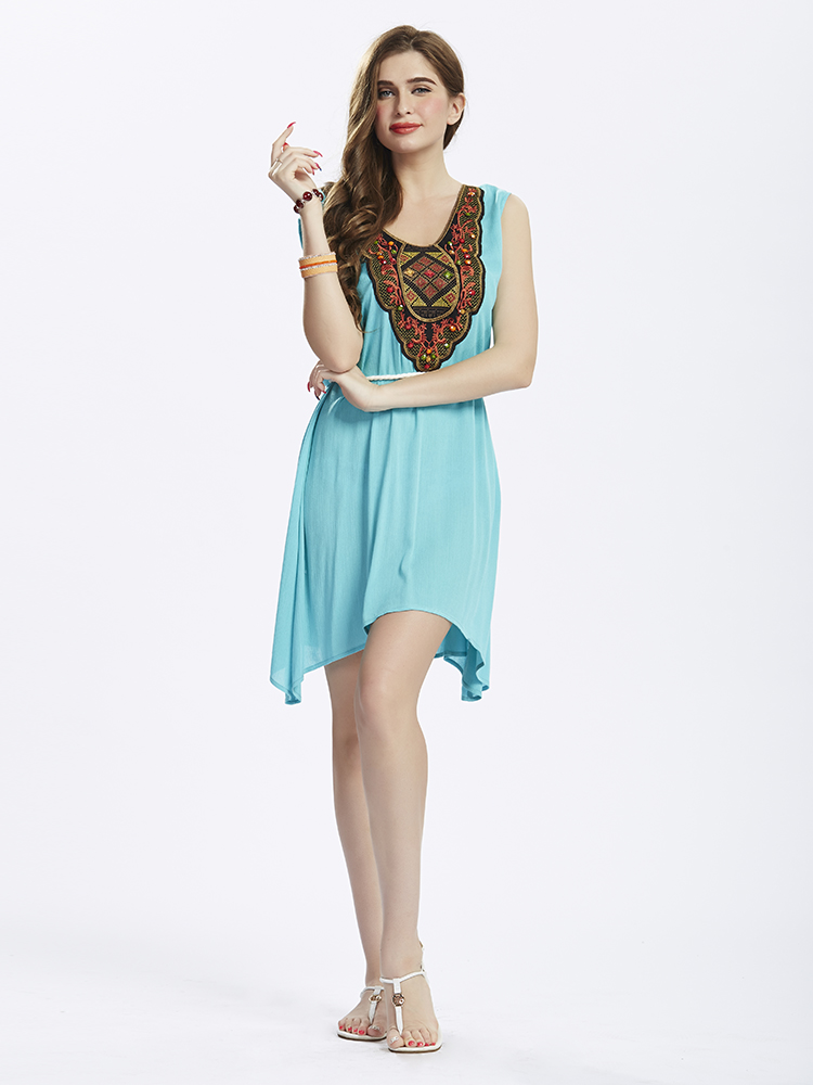 L-5XL Ethnic Style Women Embroidery Stitching High Low Mini Dress