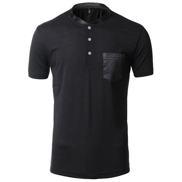Men's Silk Stitching Neck Chest Pocket T-shirt Solid Color Fashion Short Sleeve Tops
